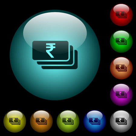 Indian Rupee banknotes icons in color illuminated spherical glass buttons on black background. Can be used to black or dark templates