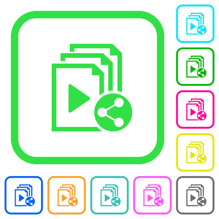 Share playlist vivid colored flat icons in curved borders on white background