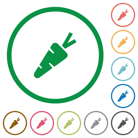 Carrot flat color icons in round outlines on white background Illustration