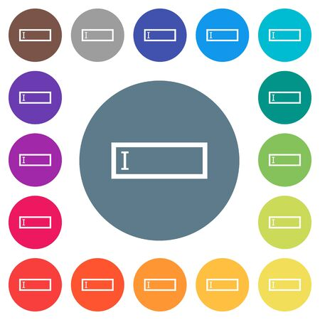 Editbox with editing cursor flat white icons on round color backgrounds. 17 background color variations are included. Çizim