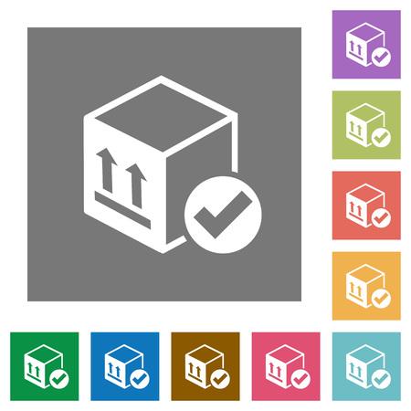 Package delivered flat icons on simple color square backgrounds Illusztráció