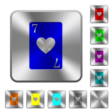 Seven of hearts card engraved icons on rounded square glossy steel buttons 向量圖像