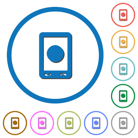 Mobile media record flat color vector icons with shadows in round outlines on white background