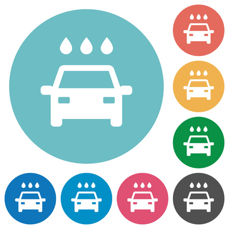 Car wash flat white icons on round color backgrounds