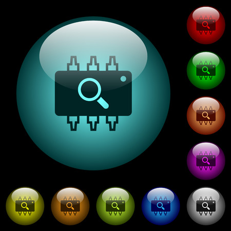 Hardware test icons in color illuminated spherical glass buttons on black background. Can be used to black or dark templates Illustration
