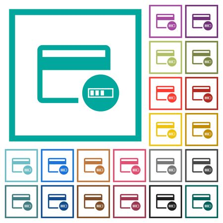 Verifying credit card flat color icons with quadrant frames on white background