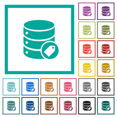 Database tag flat color icons with quadrant frames on white background