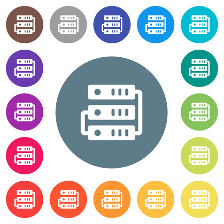 Connected servers flat white icons on round color backgrounds. 17 background color variations are included.  イラスト・ベクター素材