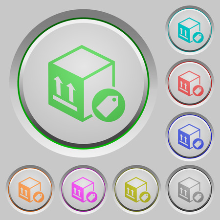 Package labeling color icons on sunk push buttons