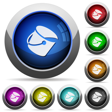 Paint bucket icons in round glossy buttons with steel frames Illustration