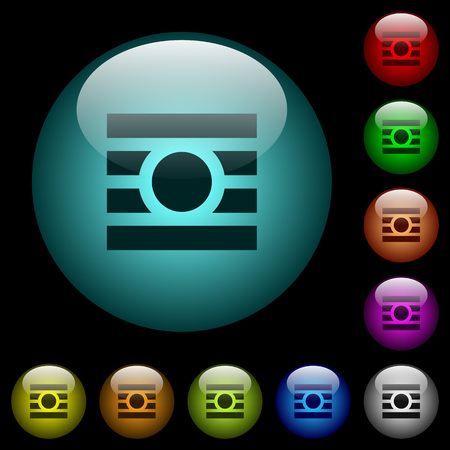 Text wrap around objects icons in color illuminated spherical glass buttons on black background. Can be used to black or dark templates