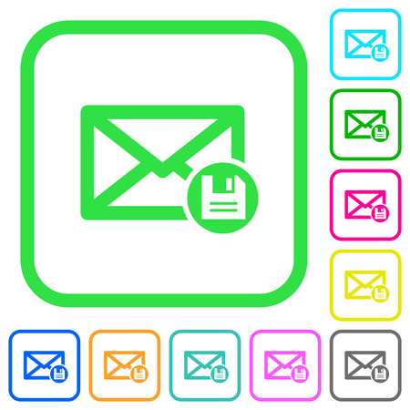 Archive mail vivid colored flat icons in curved borders on white background