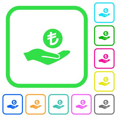 Turkish Lira earnings vivid colored flat icons in curved borders on white background