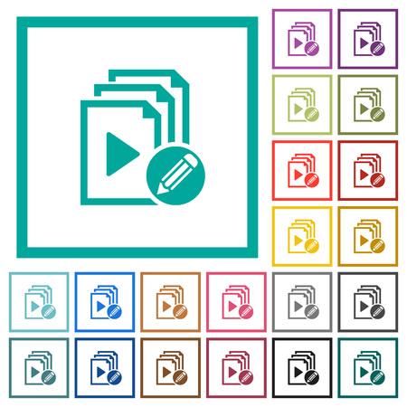 Edit playlist flat color icons with quadrant frames on white background Çizim