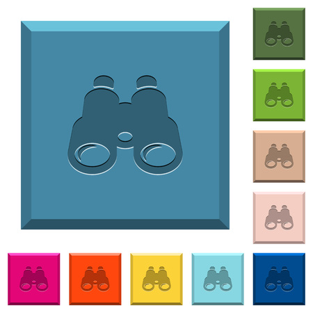 Binoculars engraved icons on edged square buttons in various trendy colors Illustration