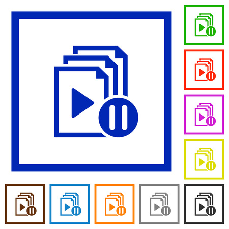 Pause playlist flat color icons in square frames on white background