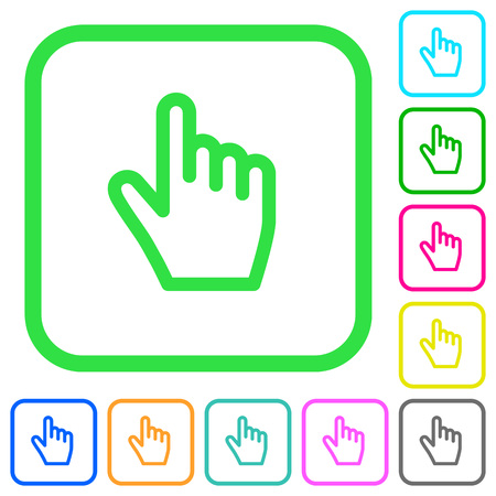 Hand cursor vivid colored flat icons in curved borders on white background Illustration