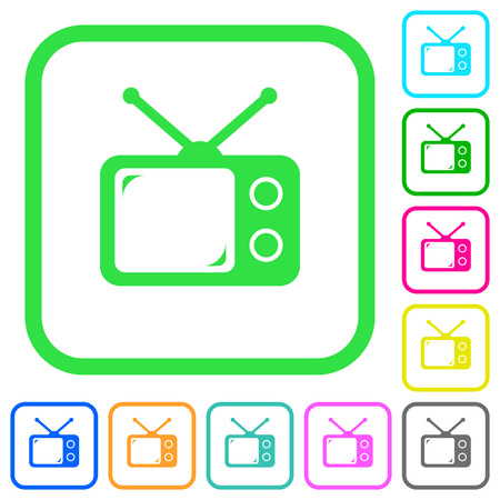 Vintage retro television vivid colored flat icons in curved borders on white background Illustration