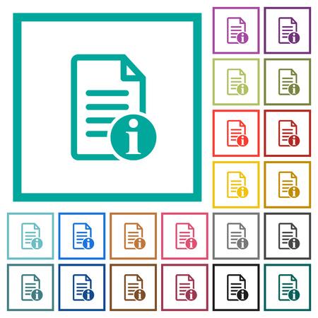 iconos de documento plano de información plana con marcos de documentos planos sobre fondo blanco