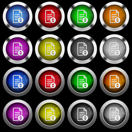 Document scrolling white icons in round glossy buttons with steel frames on black background. Ilustração