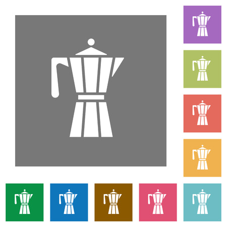 Coffee maker flat icons on simple color square backgrounds Illustration