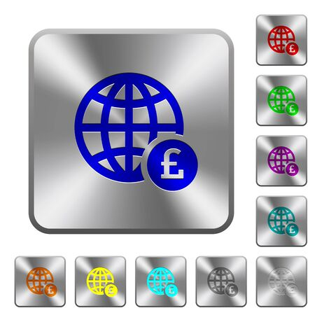 Online Pound payment engraved icons on rounded square glossy steel buttons