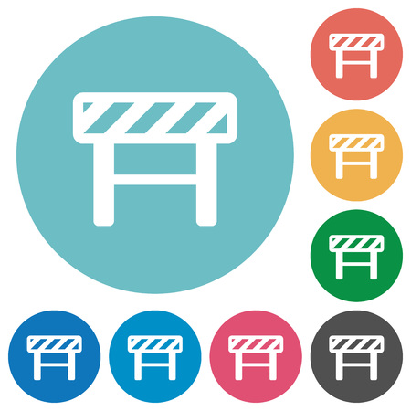 Construction barrier flat white icons on round color backgrounds 일러스트