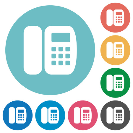 Office phone flat white icons on round color backgrounds