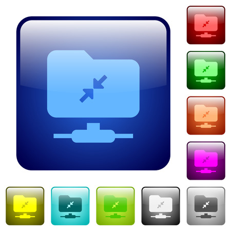 FTP compression icons in rounded square color glossy button set