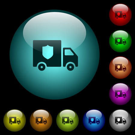 Money deliverer truck icons in color illuminated spherical glass buttons on black background. Can be used to black or dark templates Illustration