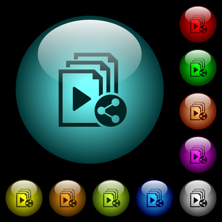 Share playlist icons in color illuminated spherical glass buttons on black background. Can be used to black or dark templates