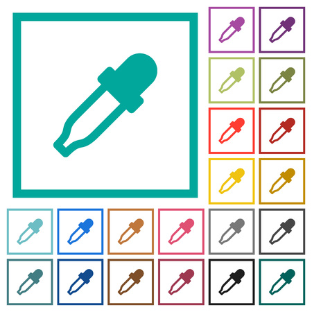 Color picker flat color icons with quadrant frames on white background Illustration