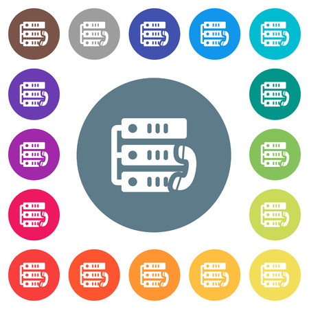 VoIP call flat white icons on round color backgrounds. 17 background color variations are included. Illusztráció