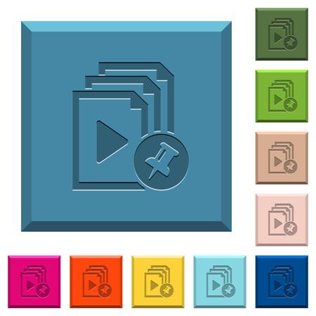 다양한 트렌디 한 색상의 모서리 사각형 버튼에 핀 재생 목록 새겨진 아이콘
