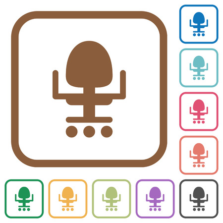 Office chair simple icons in color rounded square frames on white background