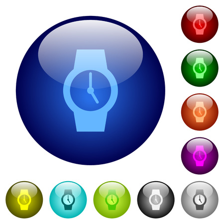 Watch icons on round color glass buttons