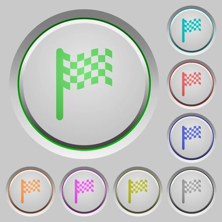 Race flag color icons on sunk push buttons  イラスト・ベクター素材