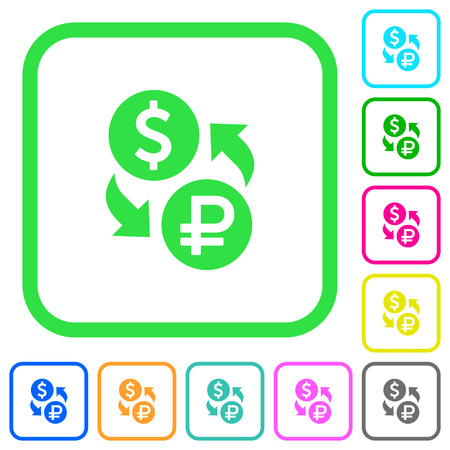 Dollar Ruble money exchange vivid colored flat icons in curved borders on white background