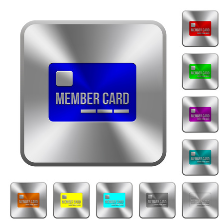 Member card engraved icons on rounded square glossy steel buttons