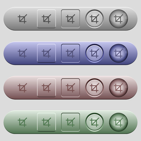 Crop tool icons on rounded horizontal menu bars in different colors and button styles