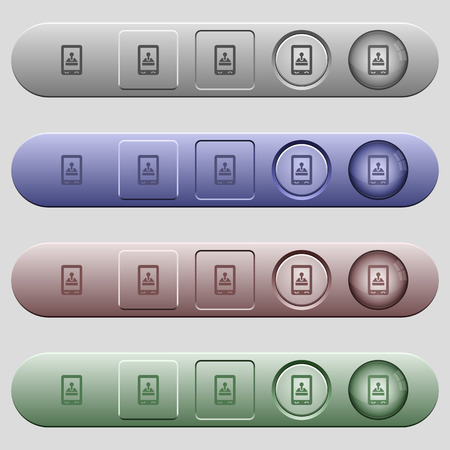 Mobile gaming icons on rounded horizontal menu bars in different colors and button styles 向量圖像