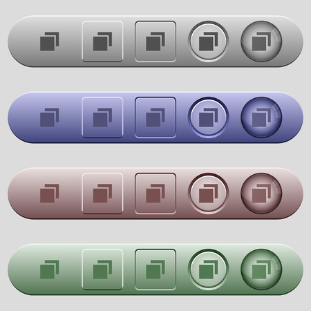 Overlapping elements icons on rounded horizontal menu bars in different colors and button styles 向量圖像