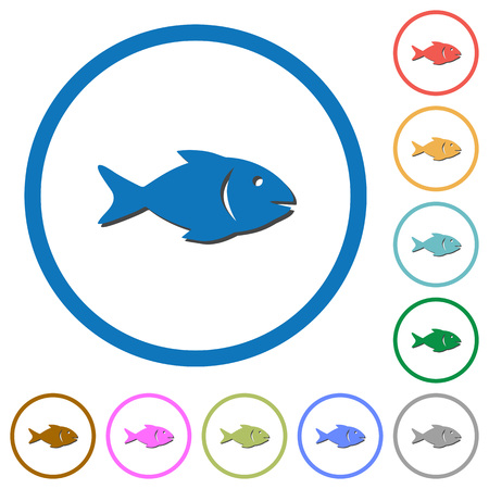 Fish flat color vector icons with shadows in round outlines on white background