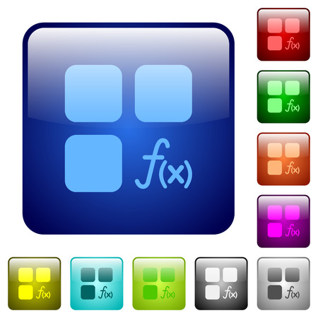 Component functions icons in rounded square color glossy button set Illusztráció