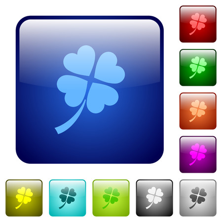 Four leaf clover icons in rounded square color glossy button set  イラスト・ベクター素材
