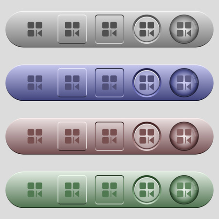 Previous component icons on rounded horizontal menu bars in different colors and button styles