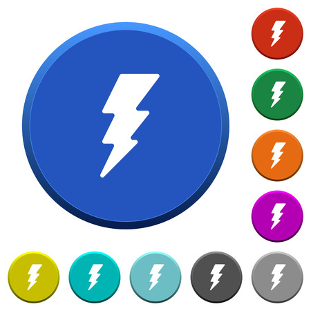 Lightning energy round color beveled buttons with smooth surfaces and flat white icons Illustration