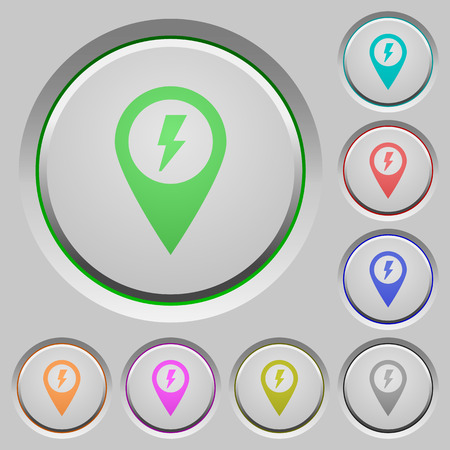 Fast aproach GPS map location color icons on sunk push buttons Illustration