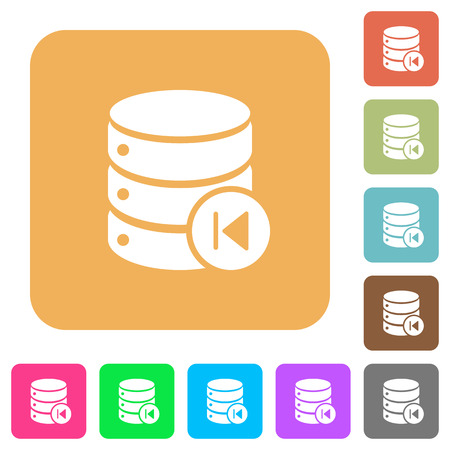Database macro prev flat icons on rounded square vivid color backgrounds. Illusztráció