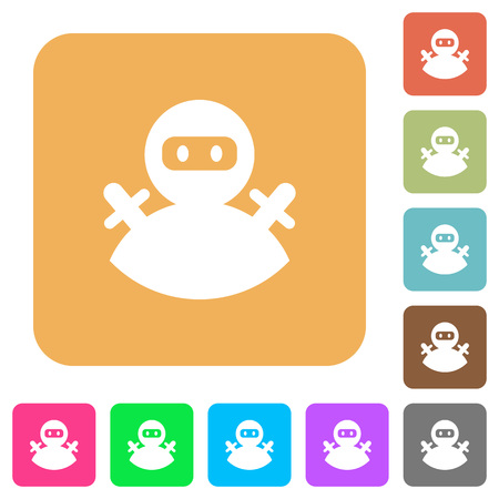 Ninja avatar flat icons on rounded square vivid color backgrounds.